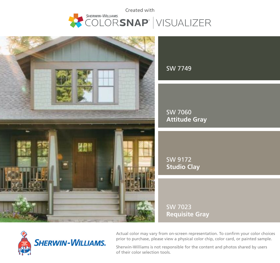 I found these colors with colorsnap visualizer for iphone by sherwin williams laurel woods sw for Sherwin williams exterior paint color visualizer
