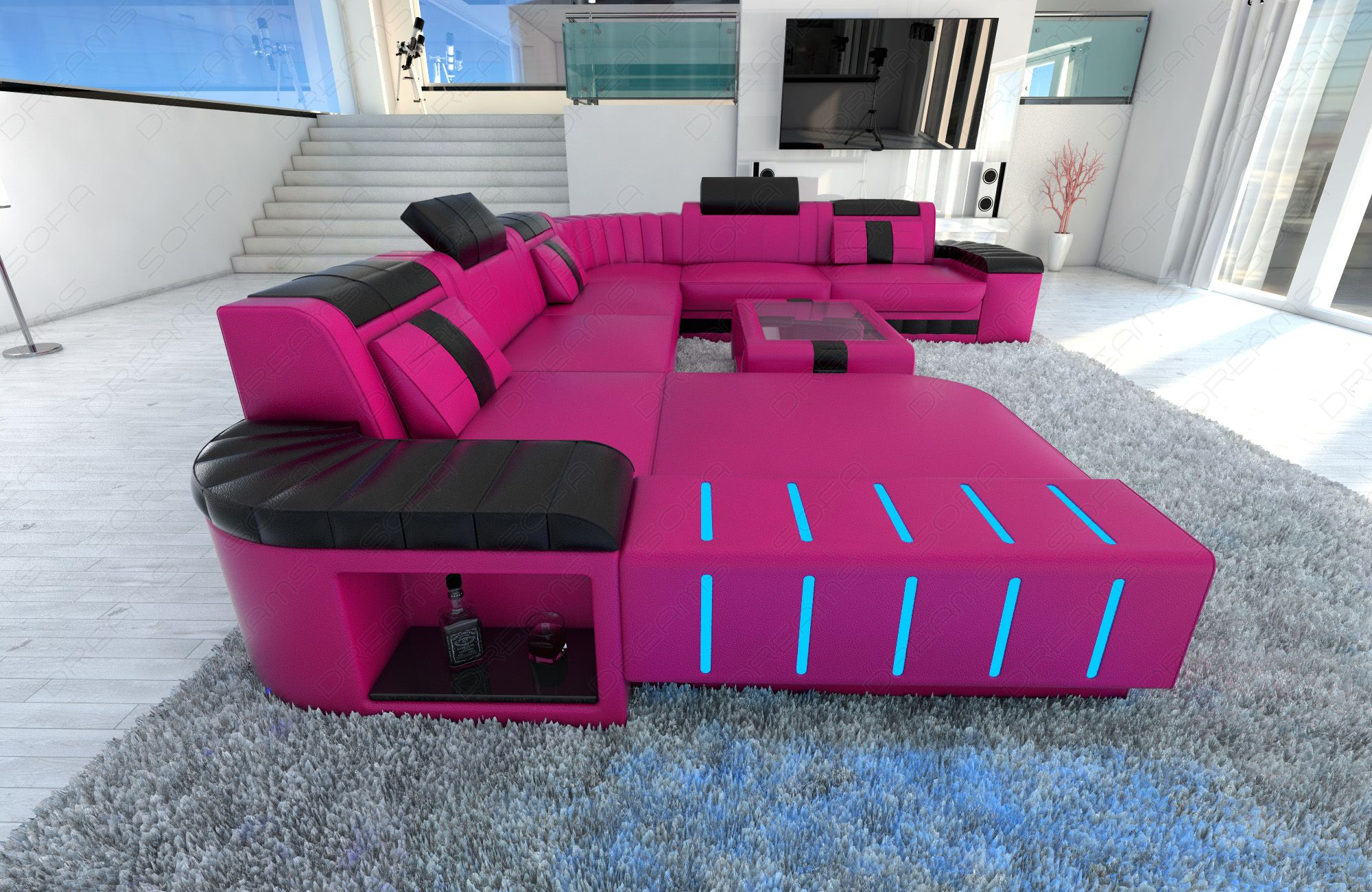 XXL Sectional Sofa BELLAGIO LED U Shaped pink black | Pink black ...