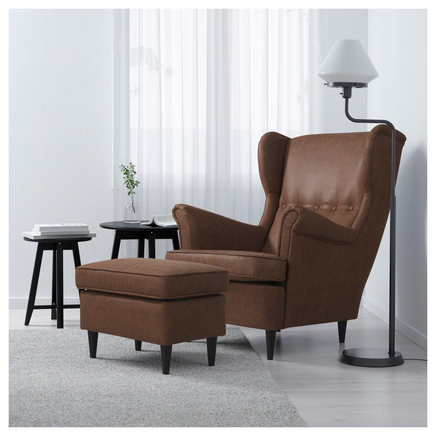 Strandmon Footstool Jarstad Brown In 2020 Ohrensessel Ikea