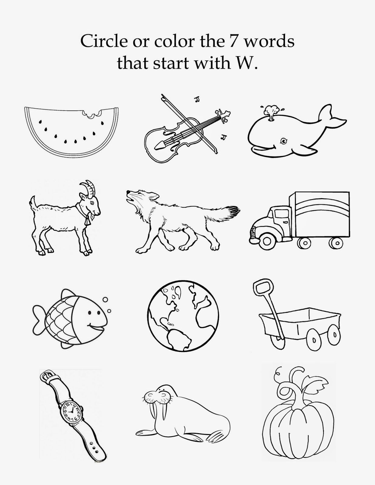 The Letter W free beginning sounds printable worksheet – Letter W Worksheets
