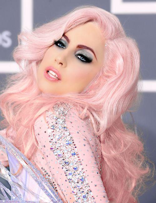 Glitter Smokey Eye Burgundy High Arch Brow Soft Lip Questionable Lady Gaga Hair Pink Hair Hair Color For Women