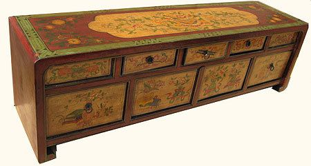 Ordinaire Hand Painted Tibetan Lowboy Cabinet.
