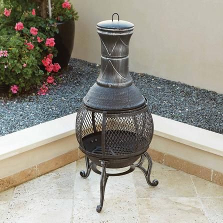 Cast Iron Chiminea With Steel Grill Chiminea Table Linens Cast Iron