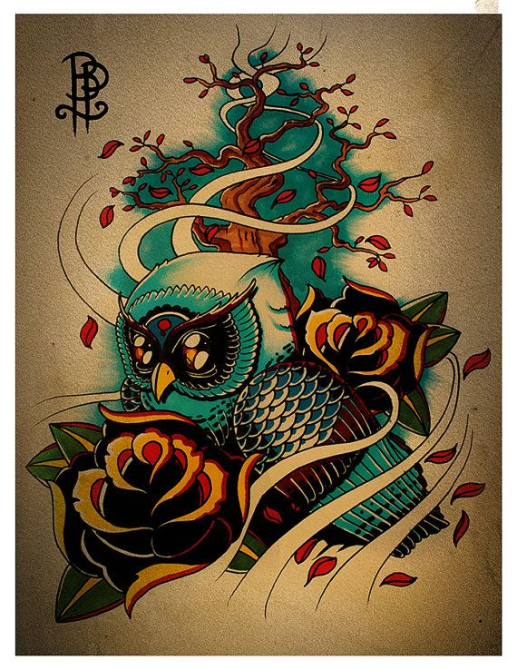 Owl in Wind Tattoo Flash Print size A5 by ...