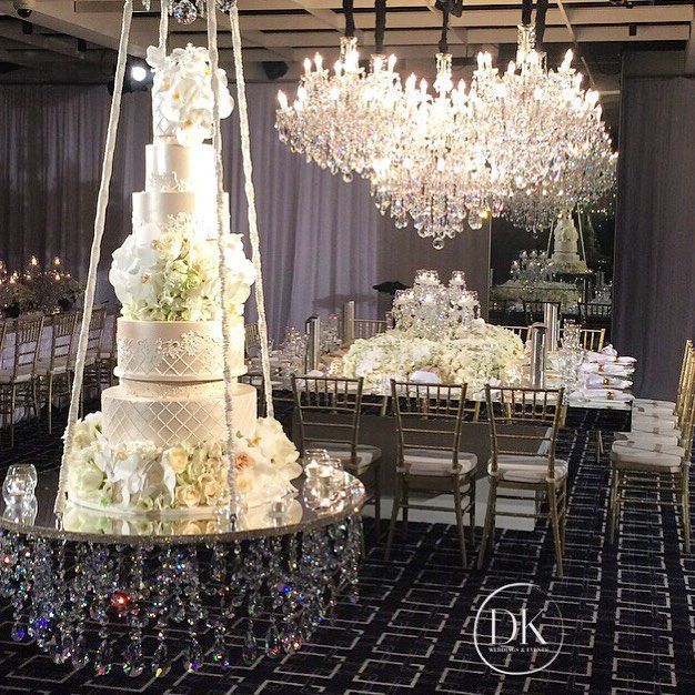 Crystal Cake Swing Chandeliers Dianekhouryweddingsandevents Wedding Cake Table Wedding Cake Table Decorations Chandelier Cake