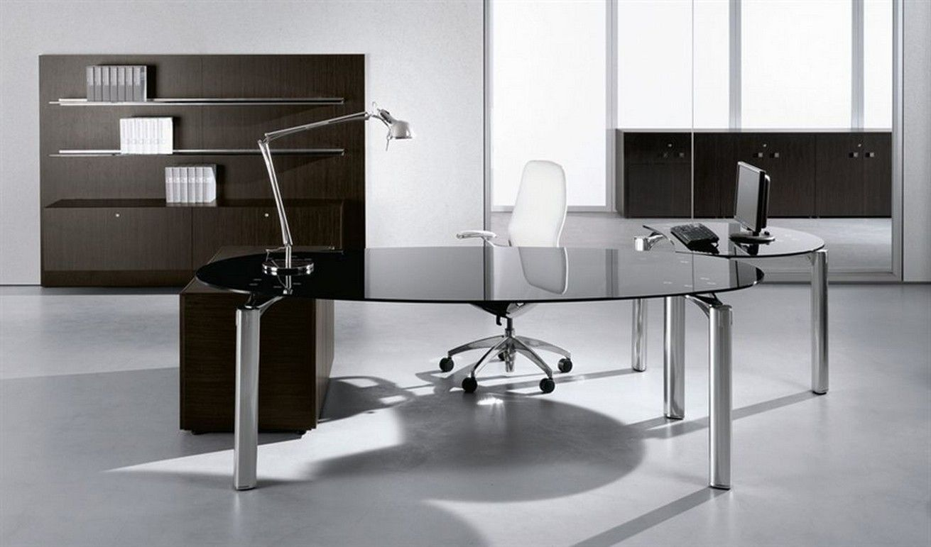 Office Glass Desk Modern Glass Office Desk For The Most Creative E