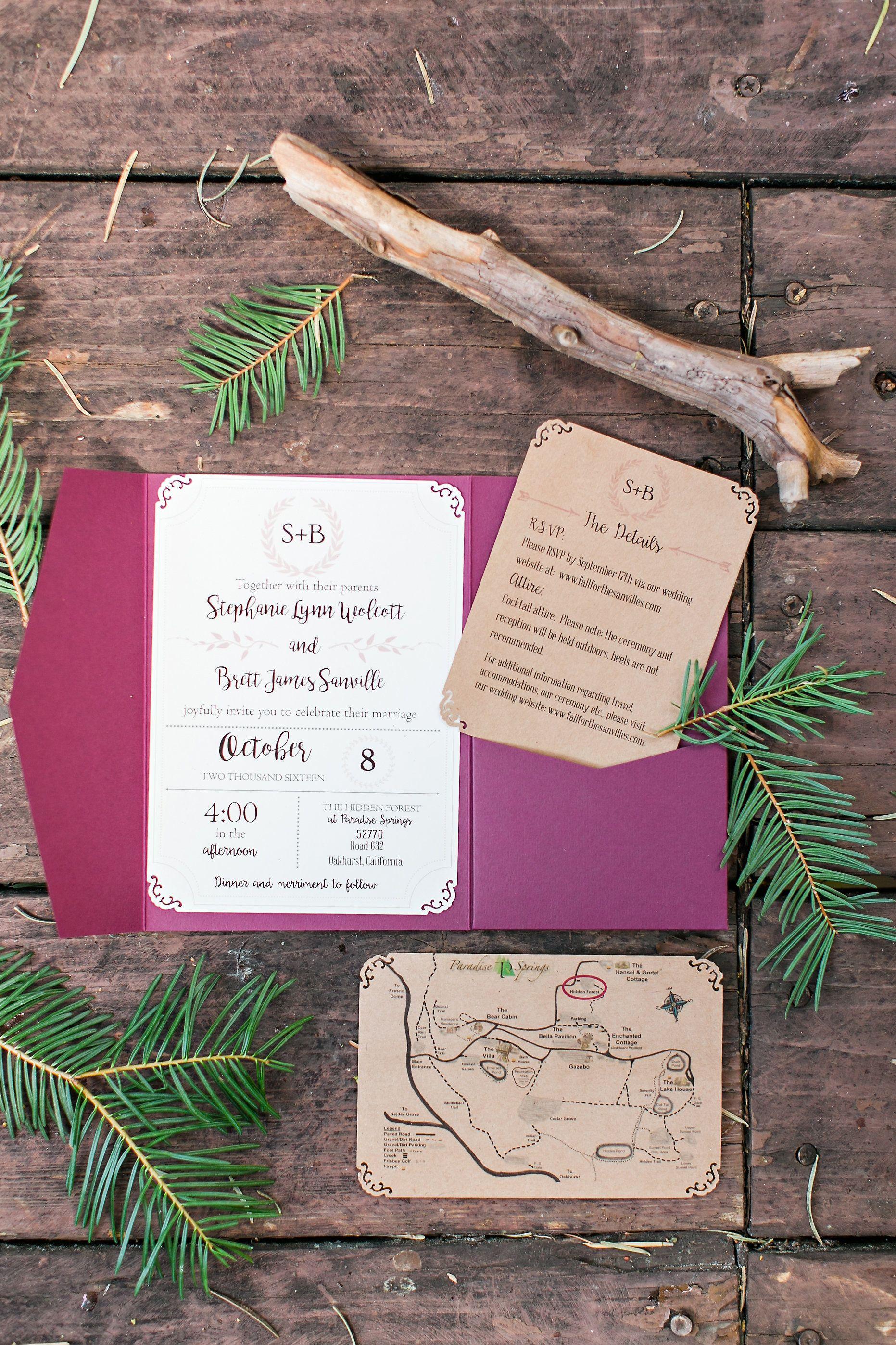 Paradise Springs Wedding | Oakhurst, CA | Yosemite Wedding | Invitation