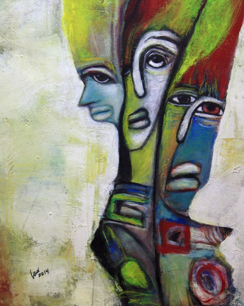Ken Law Artist Original Outsider Art Painitng Mixed Nuts