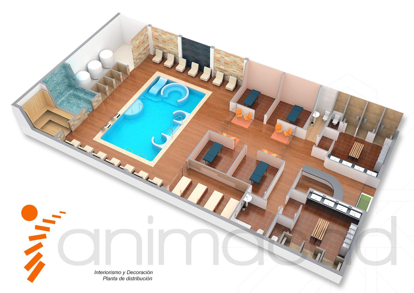 Model 3D Interior Floor spa Planta de Distribución Opcion