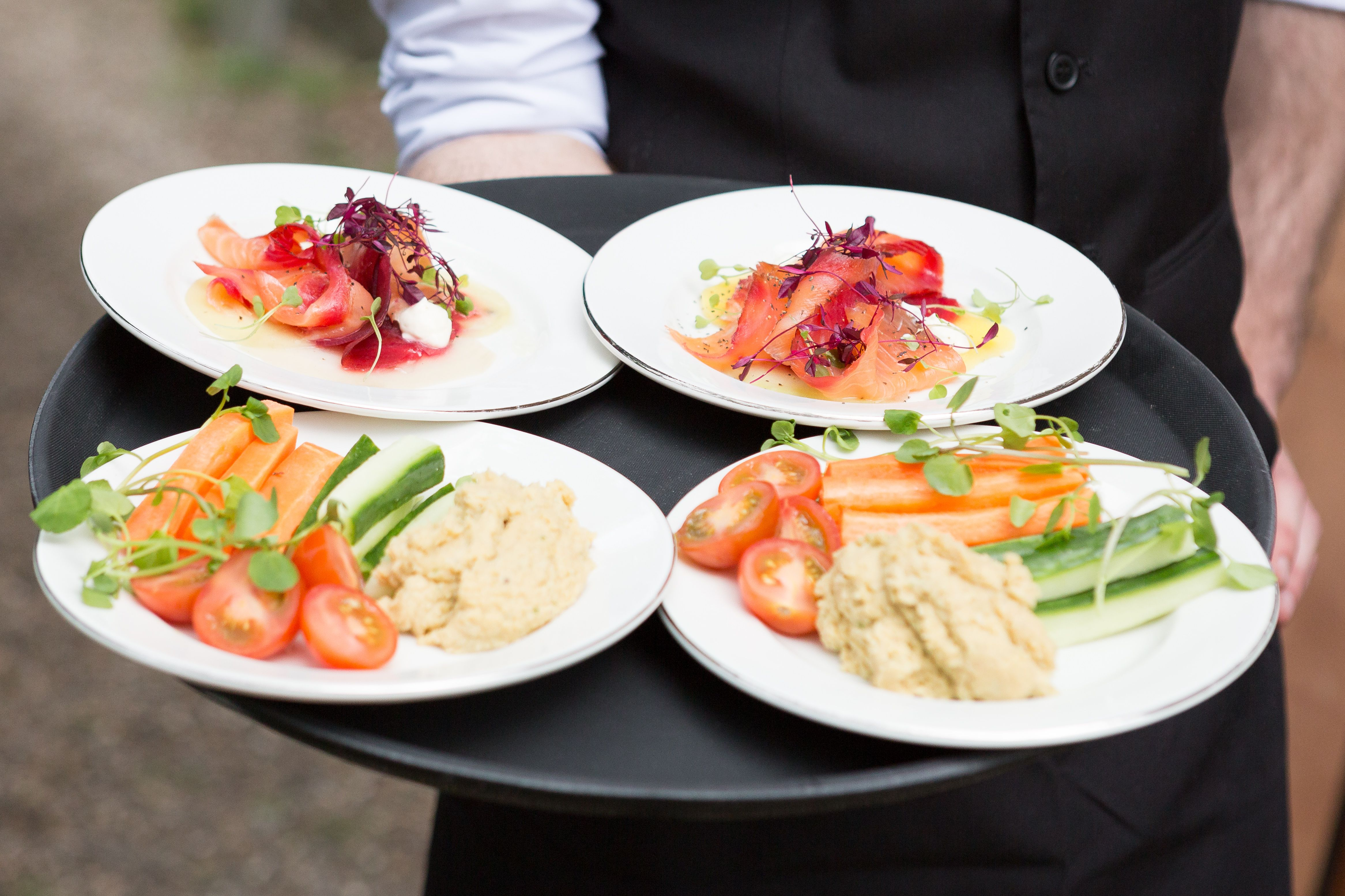 Scottish Smoked Salmon Starters And Children Humous Dip Plates