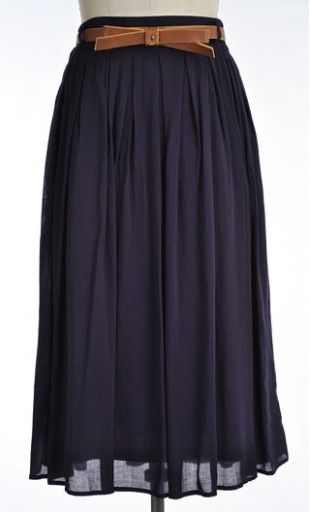 Thelma - Womens vintage pleated navy midi length skirt with added belt available in S-L. #modest #skirts