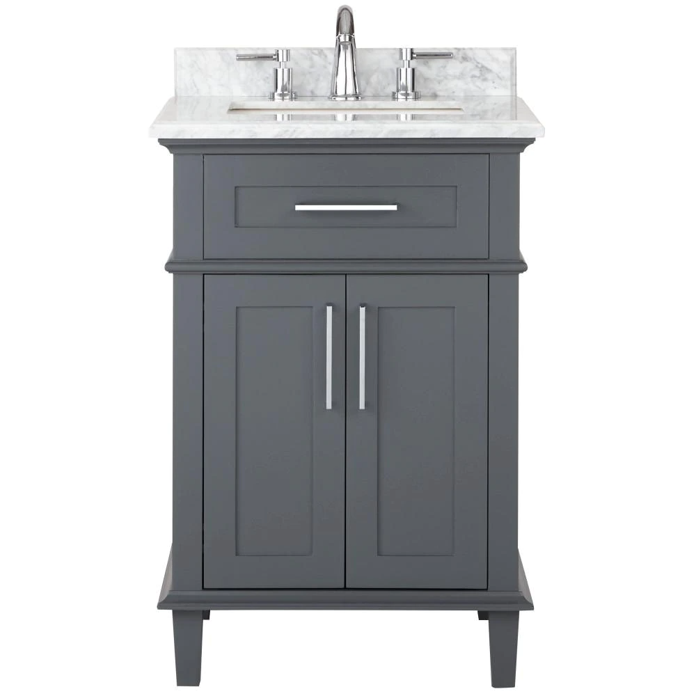 Home Decorators Collection Sonoma 24 In W X 20 25 In D Vanity In Dark Charcoal With Carrara Marble Top With White Sinks 9784800270 The Home Depot In 2021 White Sink Bathroom