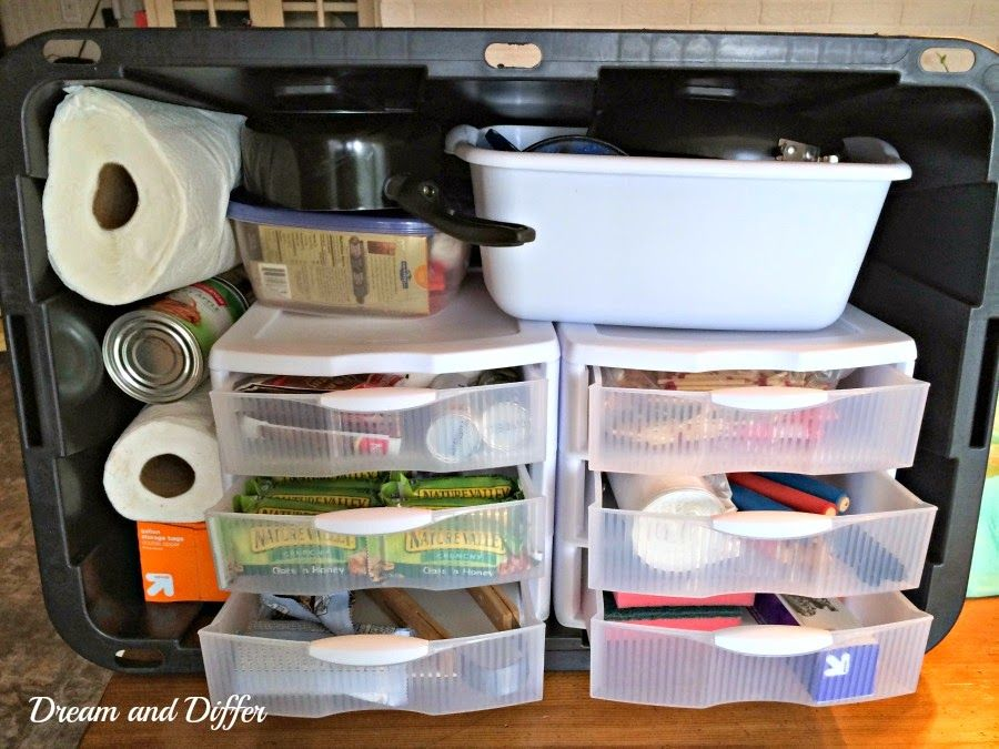 Dream and differ organized camp kitchen in a plastic tote for Outdoor camping kitchen ideas