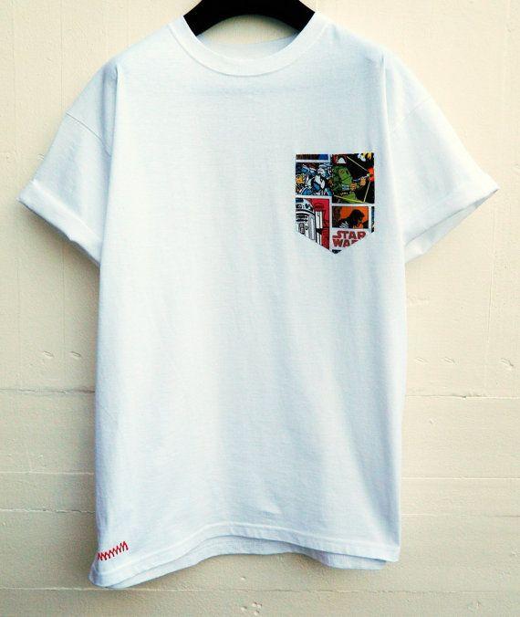 Herren Star Wars Muster Weiss Tasche T Shirt Herren T Shirt T Shirt Mit Tasche Unisex Menswear Uk Casual Wear For Men Mens Tshirts Shirt Print Design