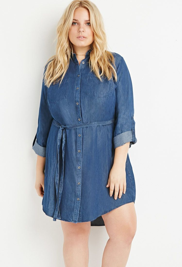 Plus Size Belted Chambray Shirt Dress | Forever 21 PLUS ...