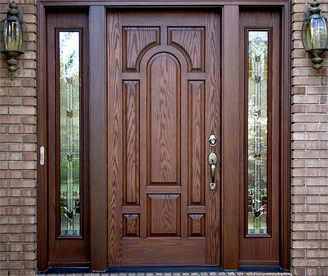 Fiberglass Door With Beautiful Wood Grain Bienvenido In