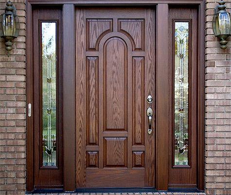 Fiberglass door with beautiful wood grain | Wooden main door design, Wooden main door, Wooden front door design