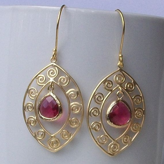 Gold And Pink Fushcia Earrings by PeriniDesigns on Etsy, $26.00