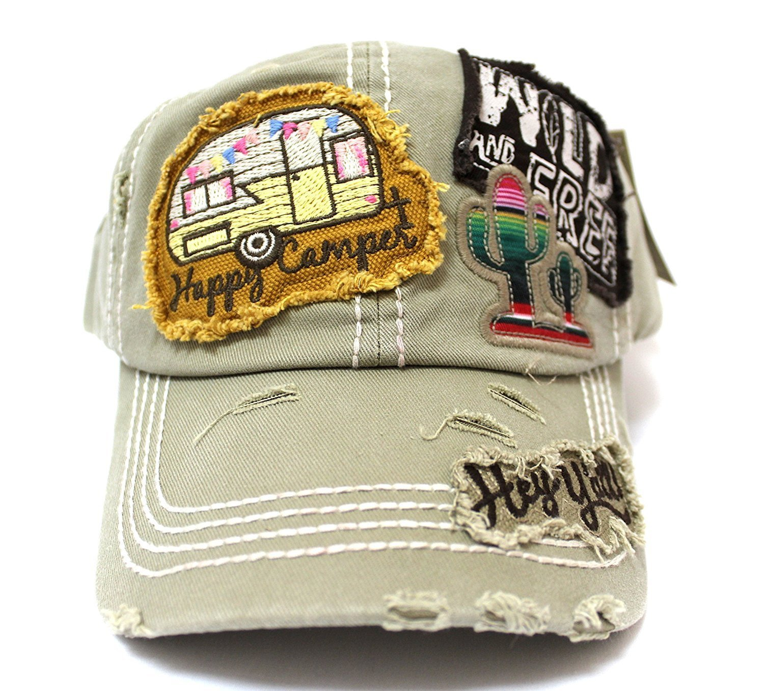 """Khaki """"Y'ALL, HAPPY CAMPER, WILD FREE"""" Multi-Patch Embroidered Adjustable Cap"""