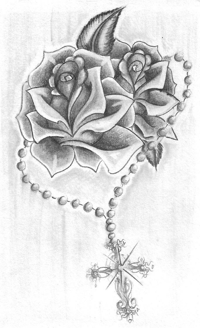 Rosary Roses By Alicornsandunigators Deviantart Com On Deviantart Cage Tattoos Ribcage Tattoo Ribbon Tattoos