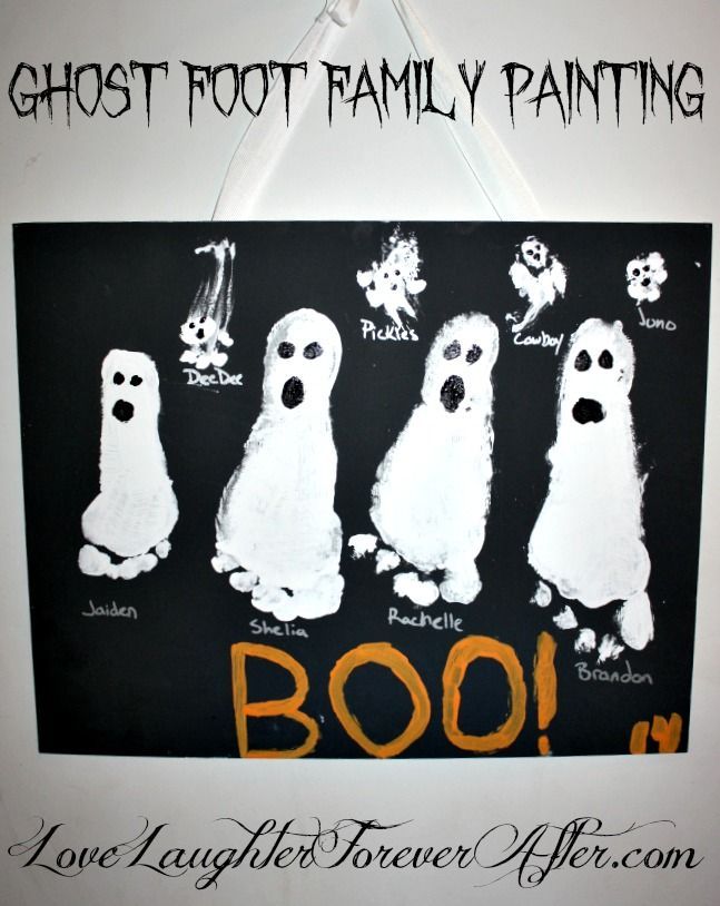 Create A Fun And Super Easy Halloween Craft Like My Ghost Foot Family Canvas Painting