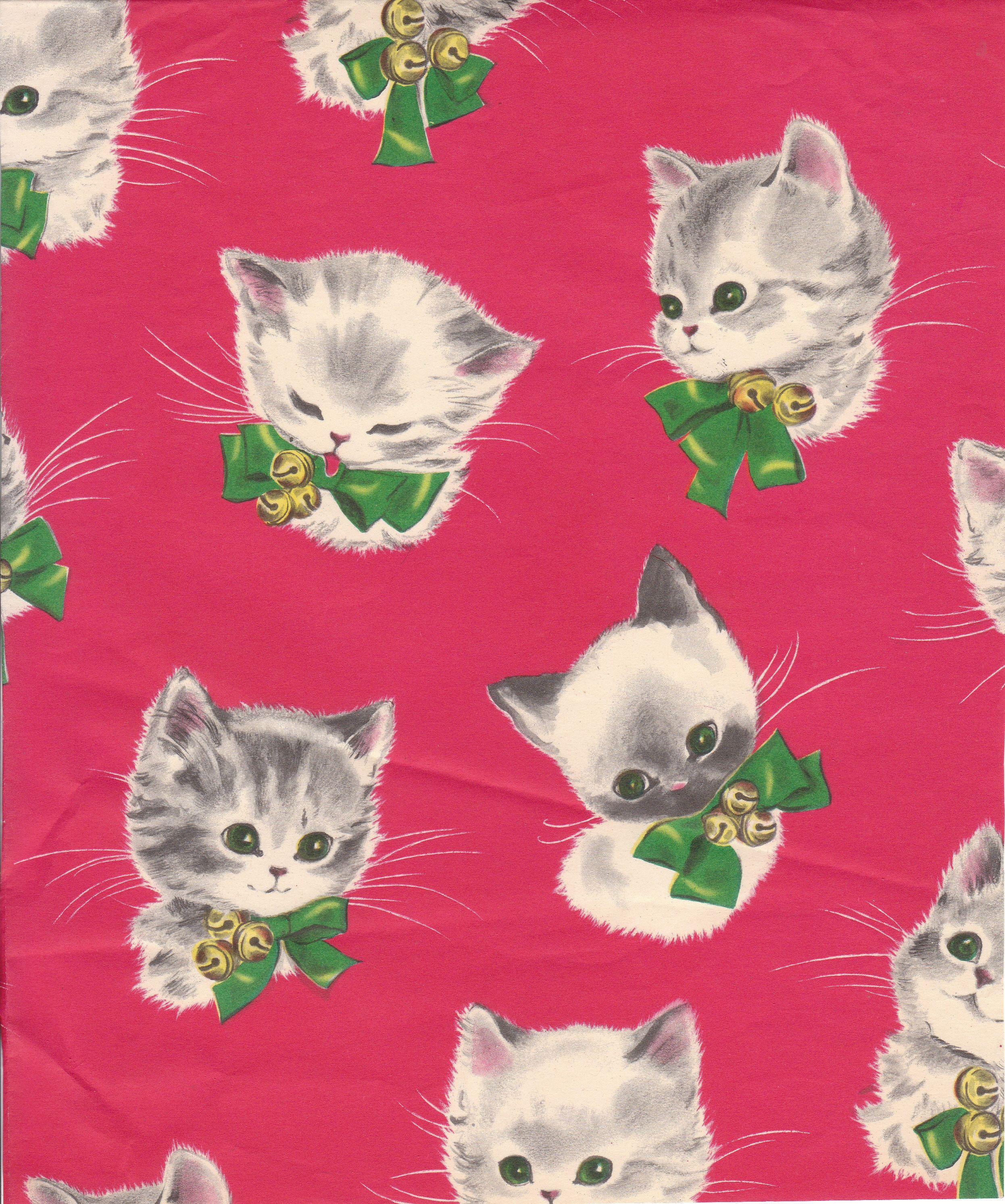 Vintage Kitten Christmas Gift Wrap Christmas Kitten Christmas Cats Vintage Cat