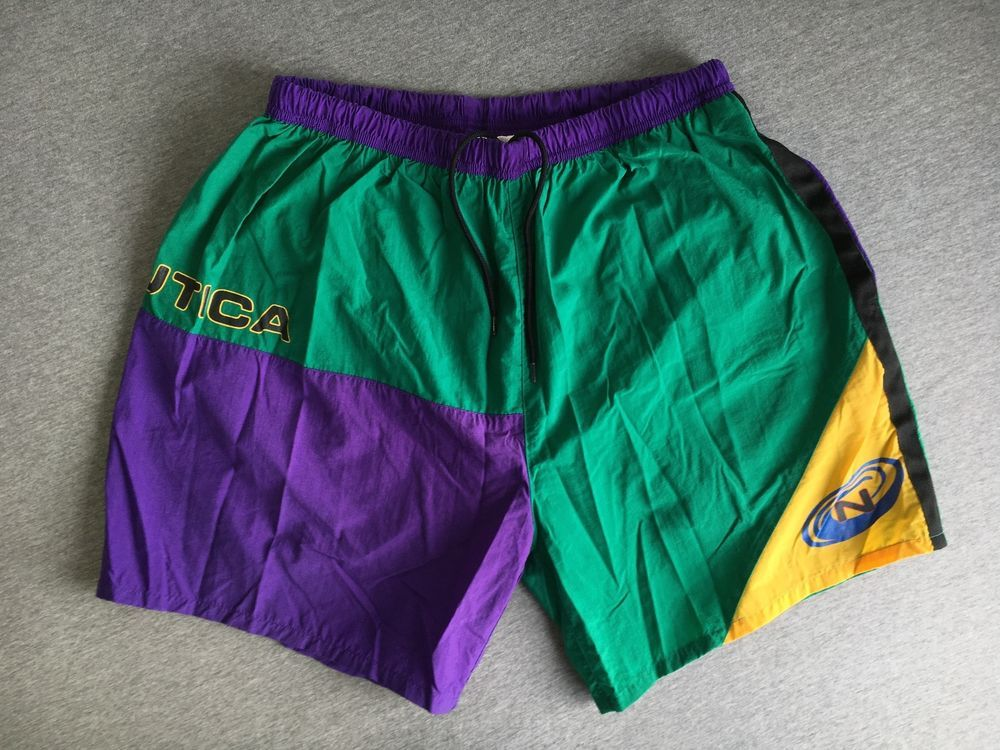 e9d74dc3c1d95 NAUTICA Swim Trunks Shorts 90s Vtg Colorblock Purple Green Mesh Liner Men  XL EUC #Nautica #Trunks
