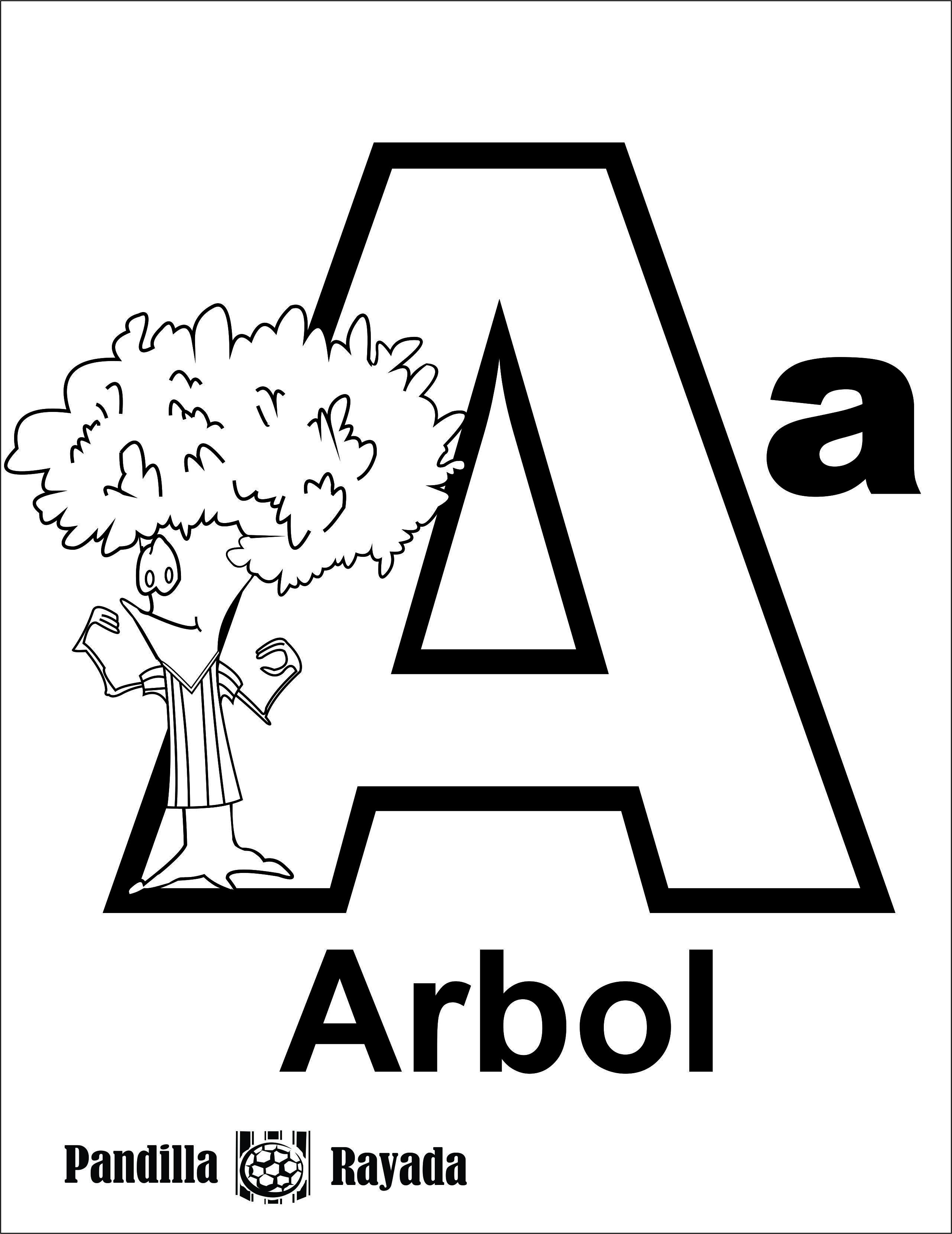 Vocal a para pintar. Árbol. | Dibujos, Dibujos para colorear