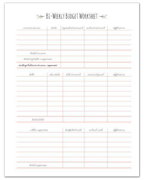 Free Printable Paycheck Budget Worksheet Fabnfree Com