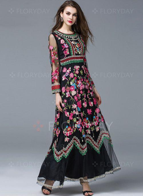 Vestidos 14769 Vestidos Seda Floral Hasta Los Tobillos