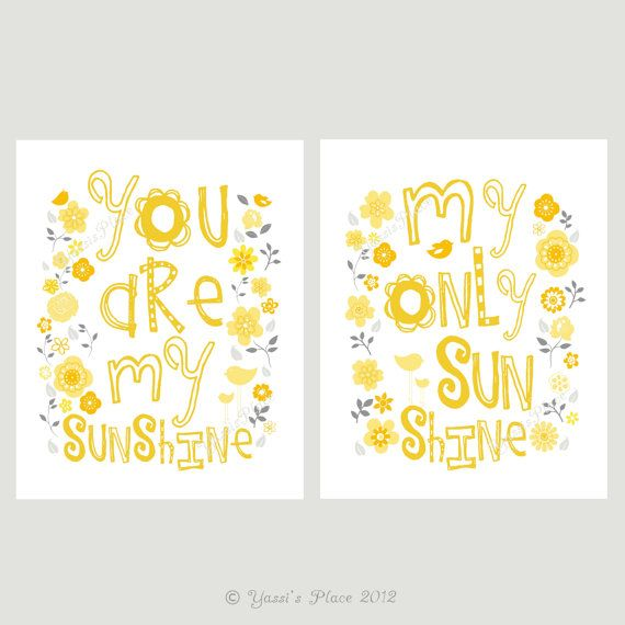 Yellow and Grey You Are My Sunshine Print Set Kids Wall Art 8x10 ...