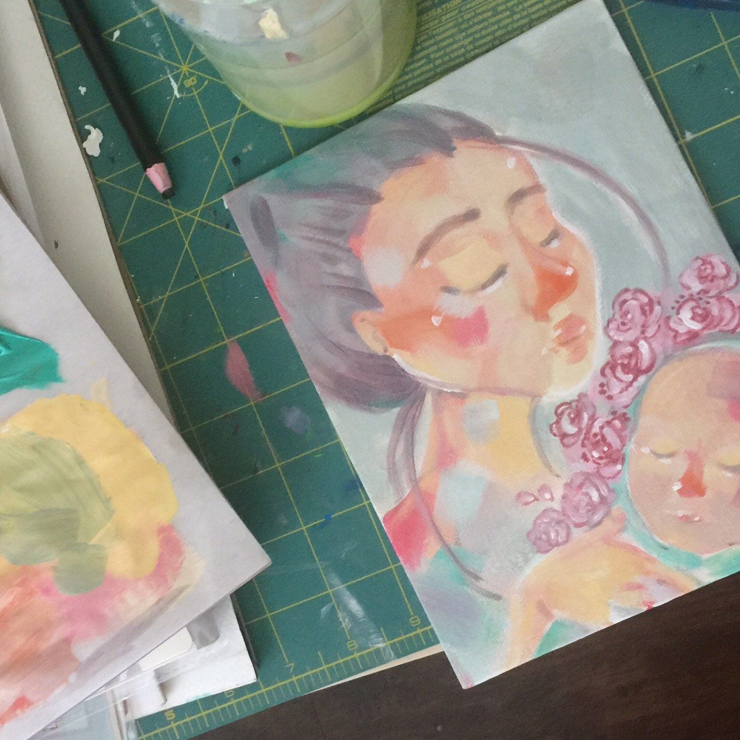 Working on one of the first paintings of this summer, having a baby is busy work !