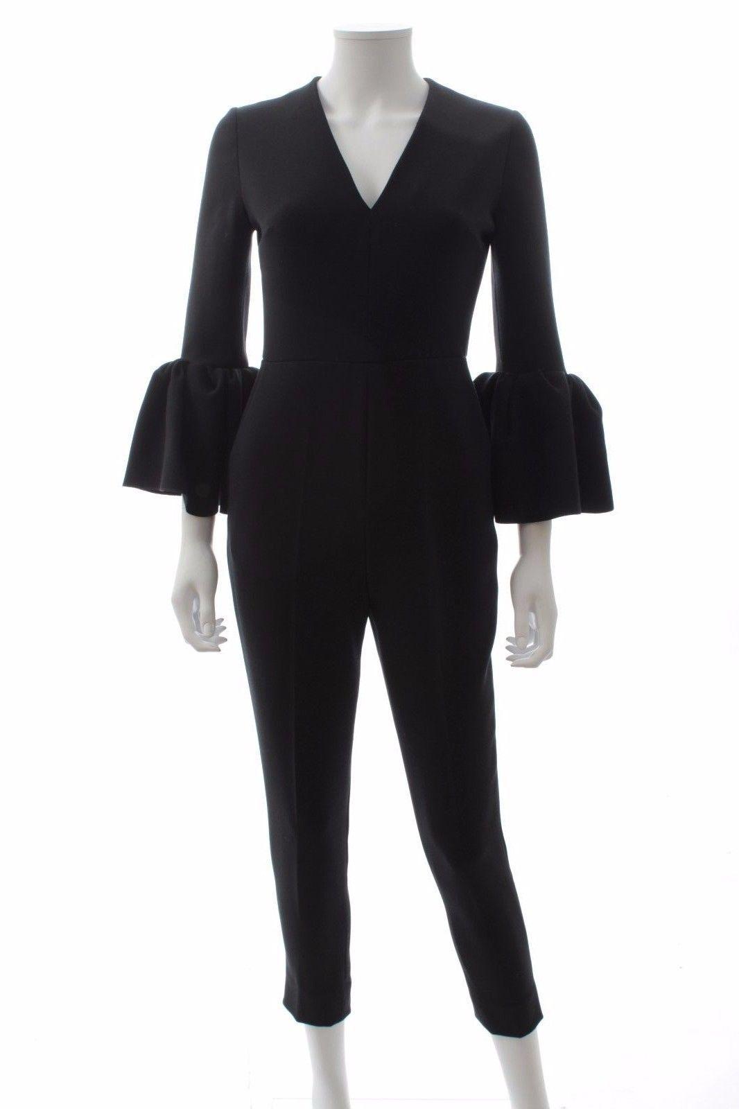 3a6eec8bcb8c Roksanda  Margot  Bell Sleeve Crepe Jumpsuit   Black   RRP  Â995.00 ...