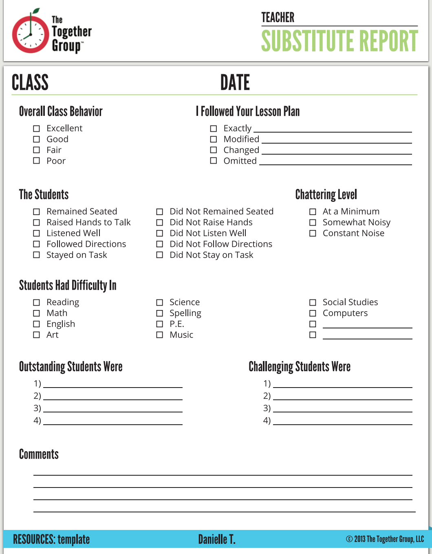 We Love Danielle S Substitute Teacher Report Sheet