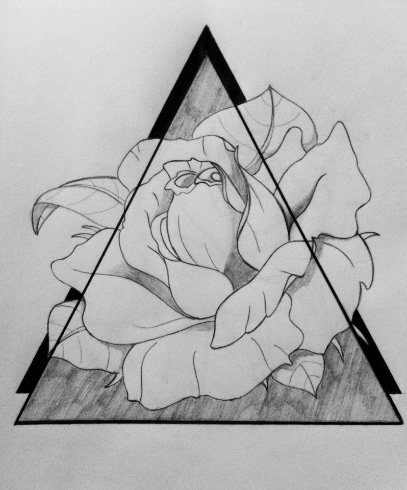 triangles and rose tattoo drawing from jade art pinterest rosen tattoo tattoo. Black Bedroom Furniture Sets. Home Design Ideas