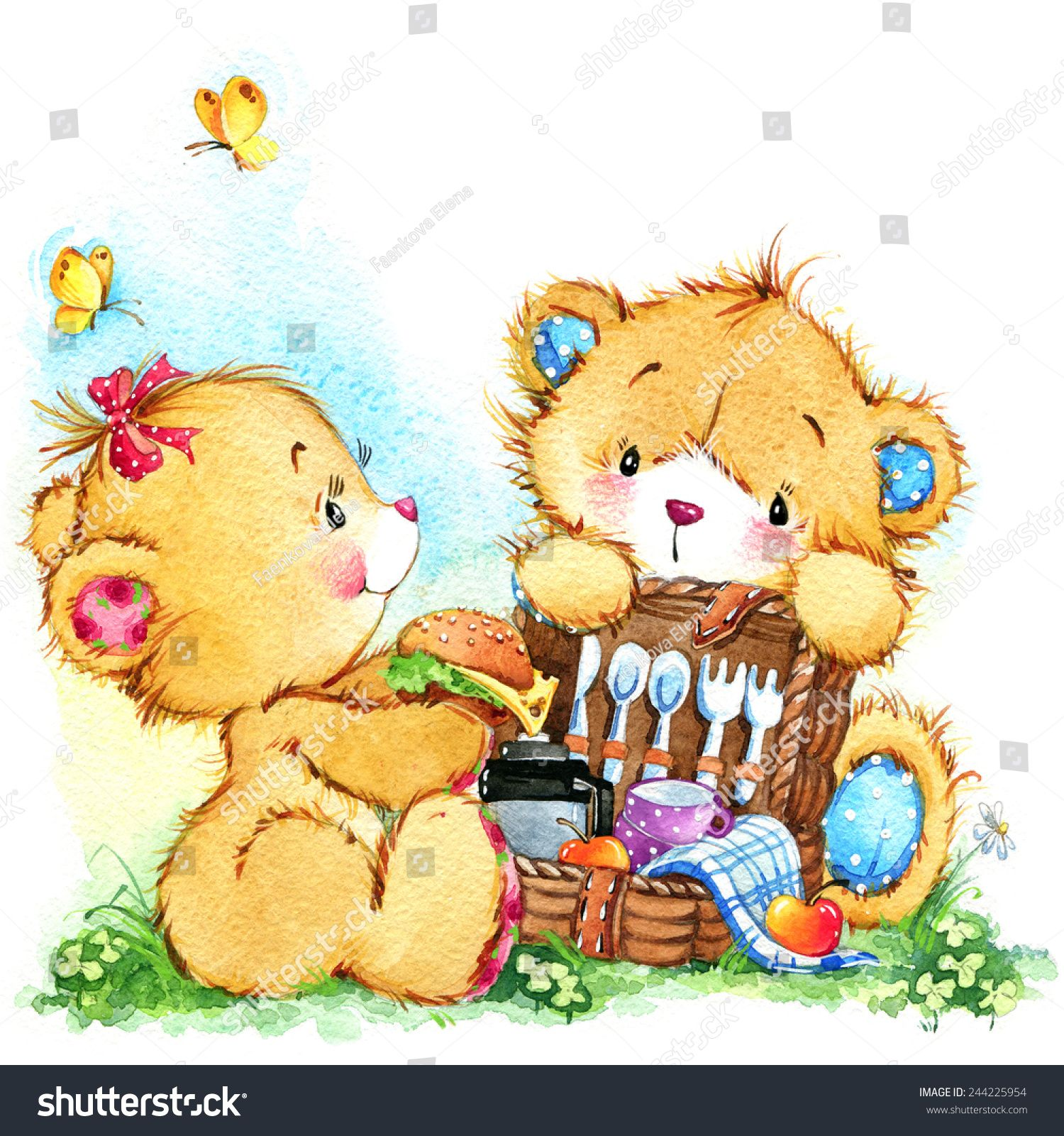 Teddy Bear And Picnic For Two Background For Greetings Cards
