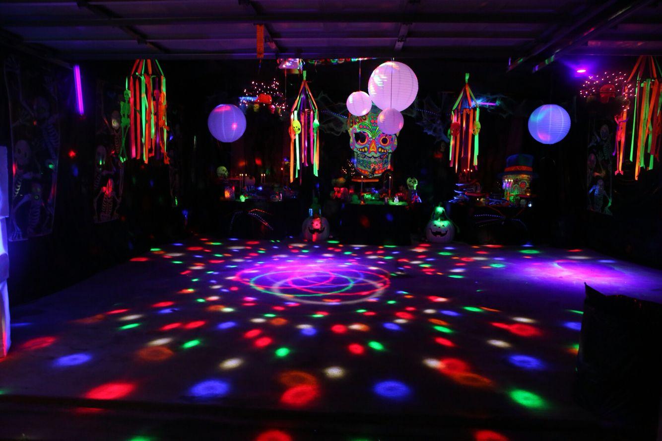 Glow In Dark Neon Day Of Dead Halloween Garage Party Garage Halloween Party Garage Party Halloween Garage