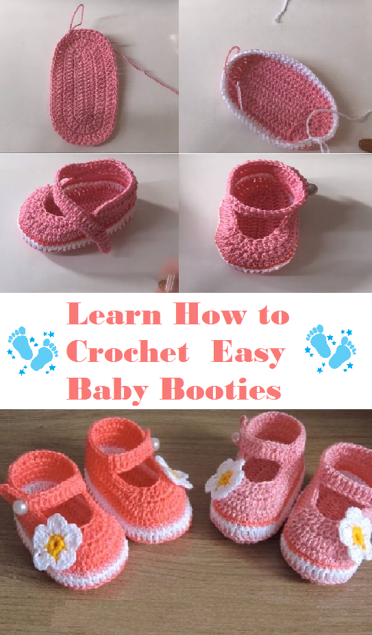 Crochet Easy Baby Booties | baby stuff | Pinterest | Nena, Bebe y Bebé