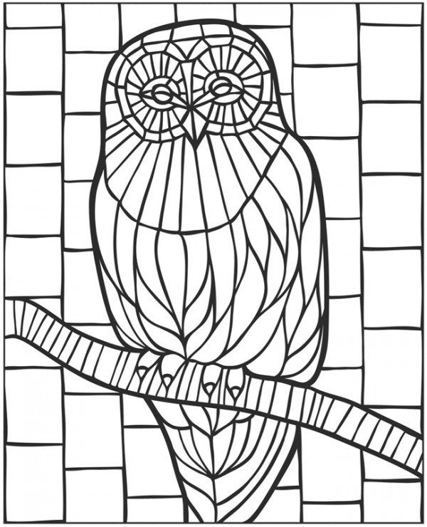 Download Owl Coloring Page Owl Coloring Pages Owl Mosaic Free Mosaic Patterns