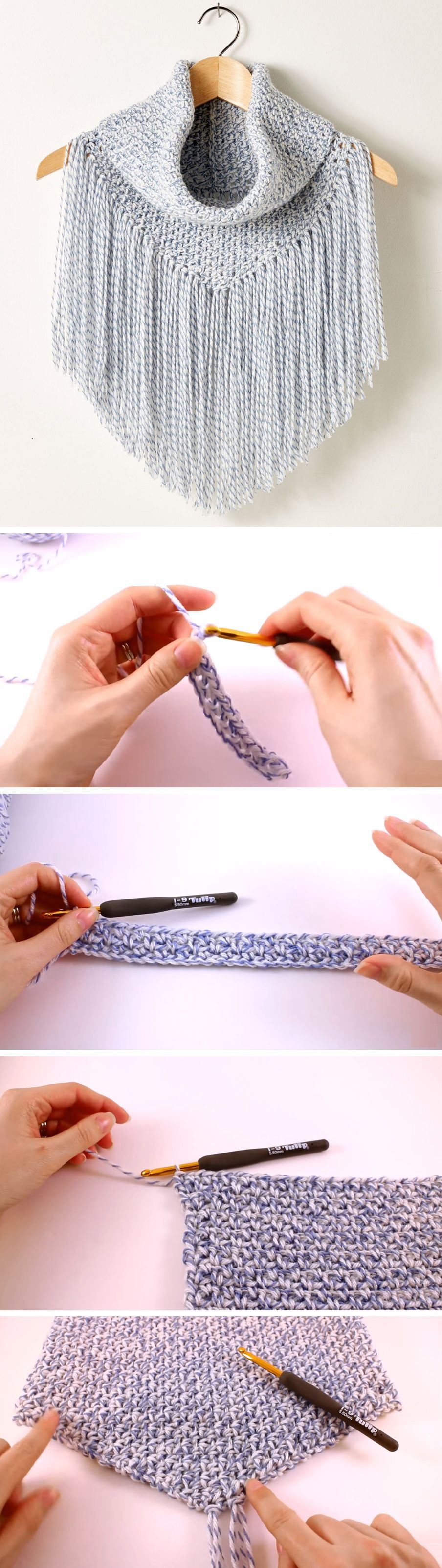 Crochet Tutorial – Poncho/Cowl | Lucas | Pinterest | Tejido, Ponchos ...