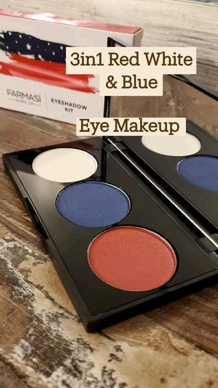 3in1 Red White & Blue  Eye Makeup