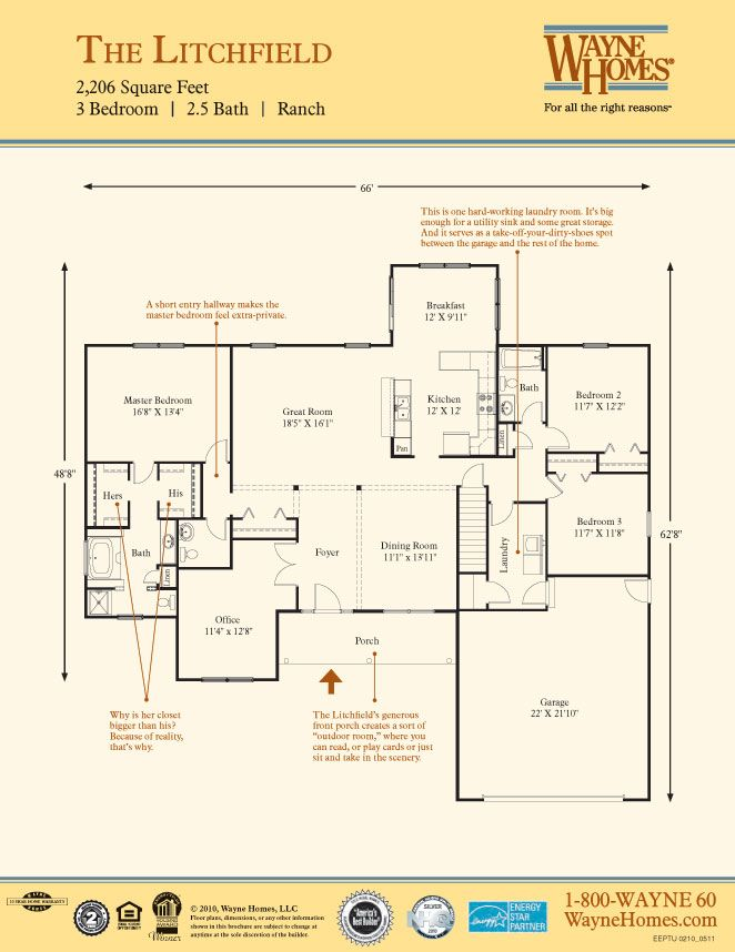 Spacious ranch house floor plans the litchfield wayne for Wayne homes floor plans
