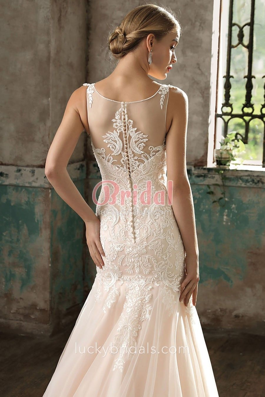 Dropped waist wedding dress  Classic Blush Lace Satin and Tulle Illusion Mermaid Dropped Waist