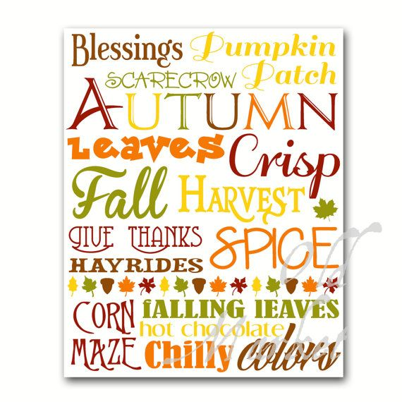 Autumn Subway Art  Printable Digital Download  by OldMarket, $2.00