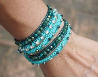 Grey mix wrap bracelet Boho bracelet Bohemian by G2Fdesign on Etsy