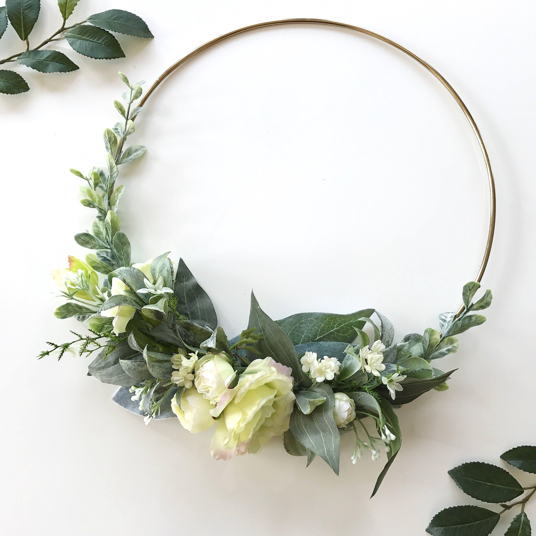 Photo of Items similar to modern wreath-greenness-wreath-wedding-decor-hoop wreath-kindergarten-abortion-bridal flower hoop-door-masonry-nursery on etsy