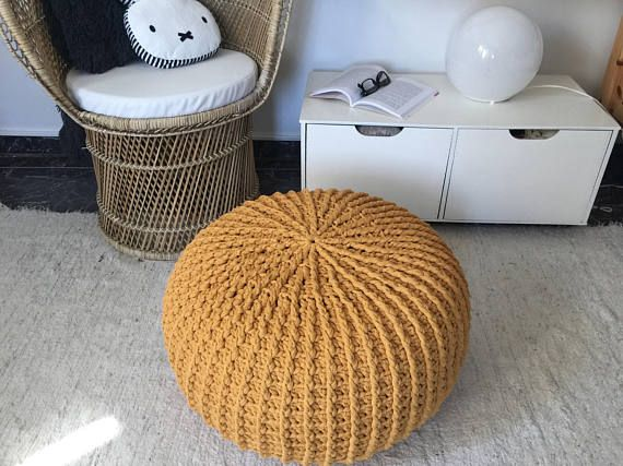 Mustard Yellow Large Crochet Pouf Chunky Knit Pouf Ottoman Large