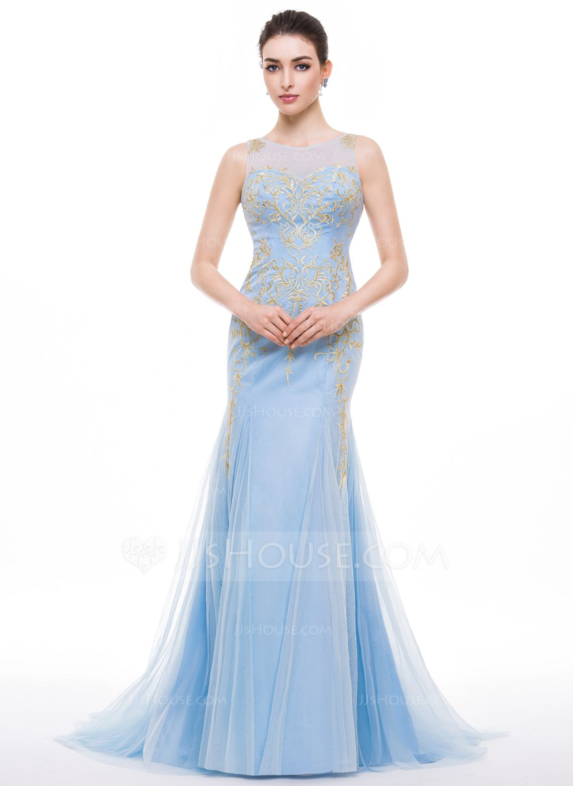 Trumpetmermaid scoop neck sweep train tulle prom dress with