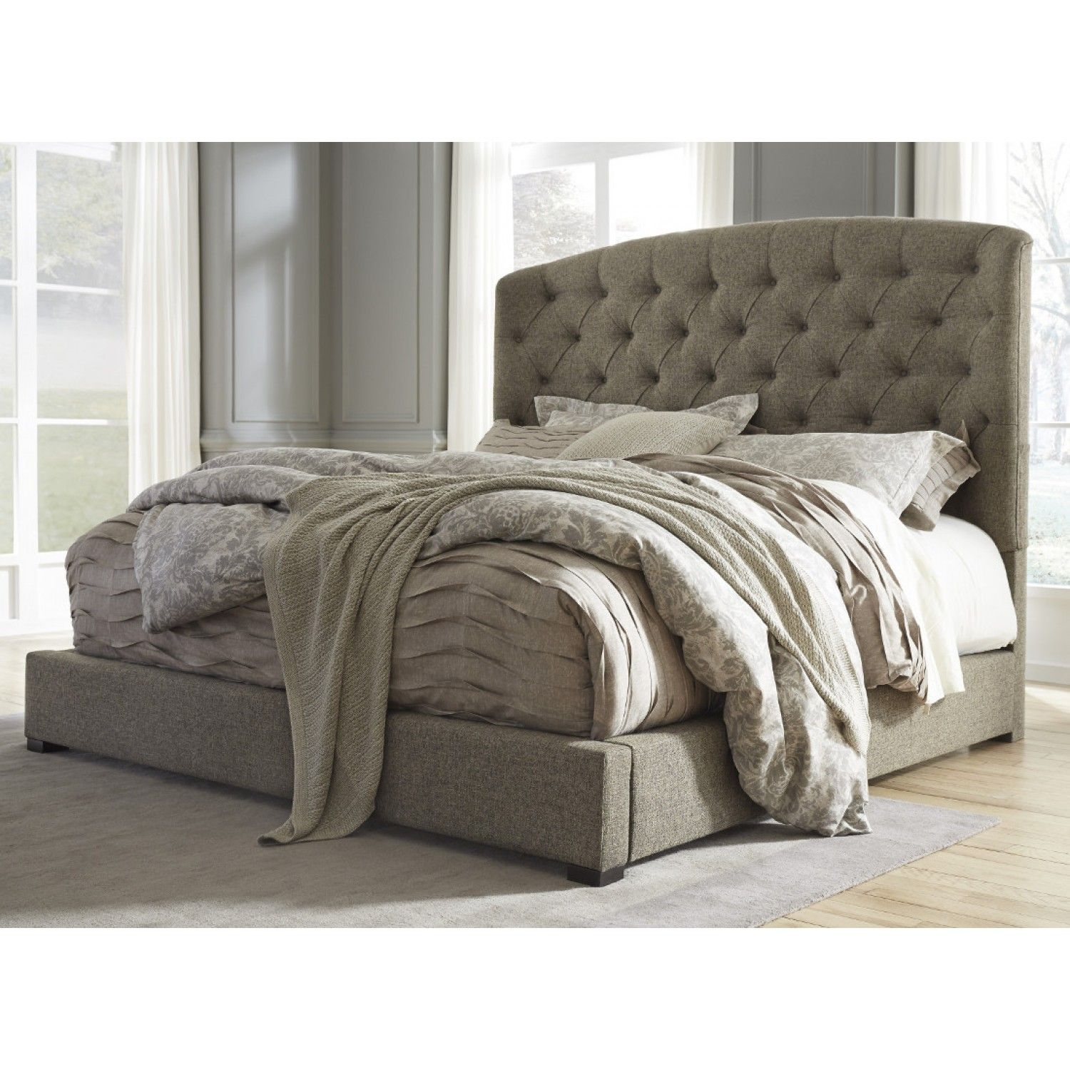 Furniture Clearance Nyc: Ashley Furniture Gerlane King Upholstered Bed In Graphite