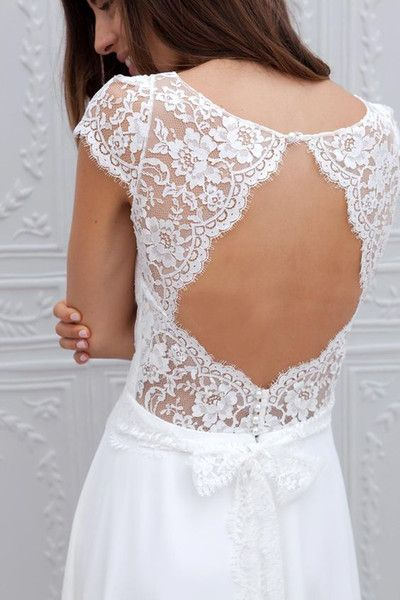 f43d92798a6 Simple A Line Beach Wedding Dresses 2016 Sheer Lace Appliques Scoop Open  Back Capped Sleeves Floor Length Chiffon Bridal Wedding Gowns Cheap Brides  Dress ...